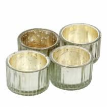 Teelichtglas Vintage Bauernsilber Ø4,8cm H3cm 4St