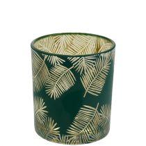Teelichthalter Glas mit Farn Grün Ø7cm H8cm