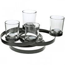 Adventskerzenhalter Metall Rund Schwarz 4 Gläser 34×26×18cm