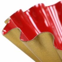 Dekoschüssel Backform Emaille-Optik Rot, Gold Ø12,5cm H4cm