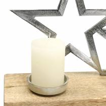 Kerzenhalter Sternensilhouette auf Holzfuß Silbern, Natur Metall, Mangoholz 35cm × 14cm