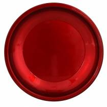 Dekoteller aus Metall Rot mit Glasureffekt Ø23cm