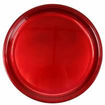 Dekoteller aus Metall Rot mit Glasureffekt Ø50cm
