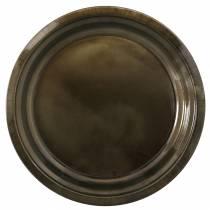 Dekoteller aus Metall Bronze mit Glasureffekt Ø30cm