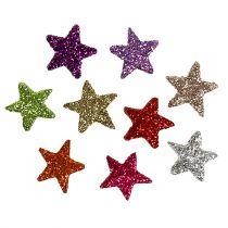Tischdeko Sterne bunt sort. 1,5cm mit Glimmer 144St