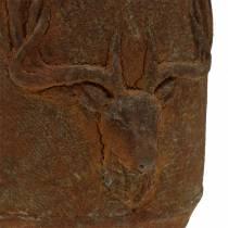 Pflanztopf Rostpatina mit Hirschkopf Ø13,5cm H13cm
