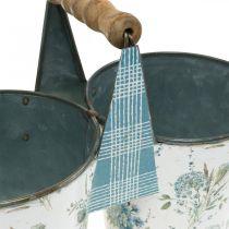 Doppel Blumentopf Sommerdeko Übertopf Metall mit Henkel Vintage Look Ø11,5cm