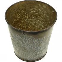 Pflanzgefäß für den Herbst, Metalltopf mit Blattdeko, Übertopf Golden Ø10cm H10cm