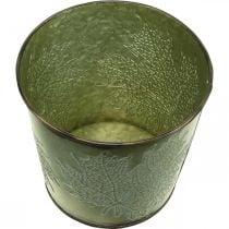 Übertopf mit Blattdeko, Metallgefäß für den Herbst, Pflanzeimer Grün Ø10cm H10cm