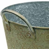 Eimer Grün mit Griffen Ø26cm Vintage-Look Pflanzkübel Metall Rost