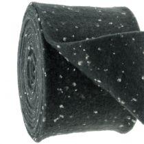 Topfband Filzband Grau mit Punkten 15cm x 5m