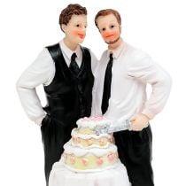 Tortenfigur Männerpaar mit Torte 16,5cm