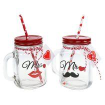 """Trinkglas mit Deckel """"Mr"""" und """"Mrs"""" 13,5cm 2St"""