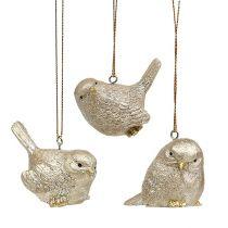 Vogel Hellgold mit Glimmer 5,5cm 3St