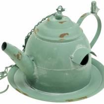 Vogelhaus Teekanne zum Hängen Mintgrün H15cm