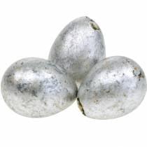 Wachtelei Deko Silbern Leer 3cm Osterdeko 60St
