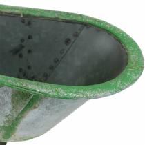 Deko Wanne Metall Used Silber, Grün 44,5cm x18,5cm x 15,3cm