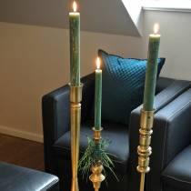Weihnachtlicher Kerzenhalter messingfarben Metall  Ø10,5cm H38,5cm