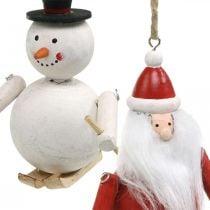 Christbaumschmuck Holz Weihnachtsmann und Schneemann 11cm 2St