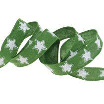 Weihnachtsband Leinoptik mit Stern Grün 25mm 15m
