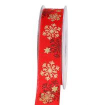 Weihnachtsband Rot mit Schneeflocken 25mm 20m