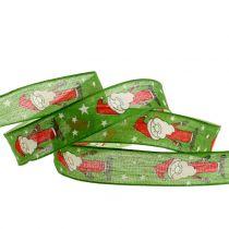 Weihnachtsband mit Santa Grün 25mm 20m