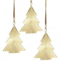 Weihnachtsbaum Metall gold 8x10cm z.Hängen 3St.