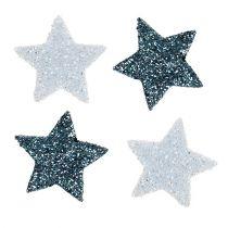 Weihnachtsdeko Stern 2,5cm Glimmer Weiß, Blau 48St