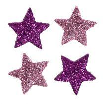 Weihnachtsdeko Stern 2,5cm Glimmer Rosa, Lila 48St
