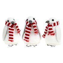 Weihnachtsdeko Pinguin 11cm weiß 3St