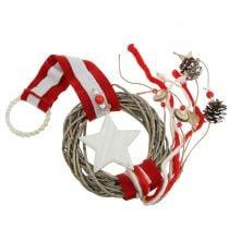 Weihnachtlicher Fensterkranz zum Hängen Rot, Weiß Ø20cm L98cm