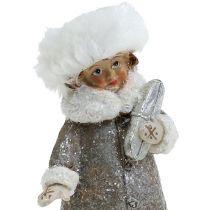 Weihnachtsfigur Grau-Weiß 13cm 2St