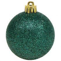 Weihnachtskugel Smaragdgrün Mix Ø6cm 10St