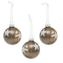 Weihnachtskugel Glas mit Sternenmuster Hellbraun Ø6cm 6St