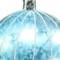 Weihnachtskugel Plastik Blau-Türkis Ø8cm 2St