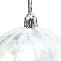 Weihnachtskugel Plastik Weiß Ø8cm 2St