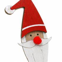 Holzstecker Weihnachtsmann mit Metallfeder Rot, Weiß, Natur 12/13cm L36/36,5cm 12St