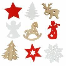 Streudeko Weihnachtssortiment Holz 72St