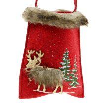 Weihnachtstasche Rot mit Fell 15,5cm x 18cm 3St