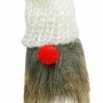 Wichtel zum Stecken mit Strickmütze Rot, Weiß, Grau 11–13cm L34–35,5cm 12St