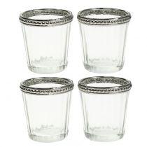 Teelichtglas Antik mit Metallrand  Ø6cm H6cm 4St