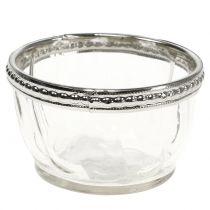Teelichtglas Antik mit Metallrand  Ø7cm H4cm