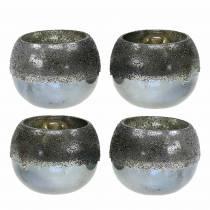 Windlicht Glas Silbern Ø8,5cm H6,5cm 4St
