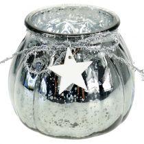 Windlicht Silber mit LED-Licht  Ø11cm H10cm