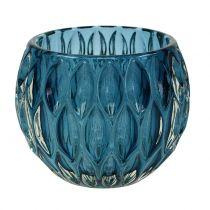 Windlicht aus Glas Dunkelblau Ø11,5cm H9cm