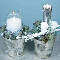 Windlicht Silber Schneeflocke Ø12,5cm H12cm