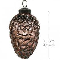 Zapfen zum Hängen, Baumschmuck Echtglas, Herbstdeko, Antik-Optik Ø7cm H11,5cm 6St