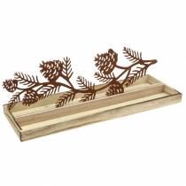 Holz-Tablett Zapfenzweig Edelrost 50cm × 17cm