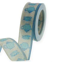 Dekorationsband mit Draht Blau 40mm 20m