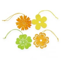 Holzblumen zum Hängen 3-farbig sort. Ø8cm 12St
